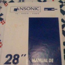 Coleccionismo: MANUAL DE USUARIO DE TV 28' ANSONIC 9728 VST. EN ESPAÑOL.. Lote 16032491