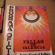 Coleccionismo: PROGRAMA DE FALLAS OFICIAL DE LA JUNTA CENTRA FALLERA. FALLAS DE VALENCIA. AÑO 1981.. Lote 18470440