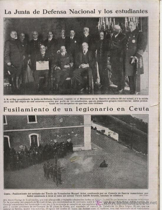 Coleccionismo: HOJA DE REVISTA 1922 FUSILAMIENTO DEL LEGIONARIO MANUEL ARIAS DE SEVILLA EN CEUTA - Foto 1 - 16177404