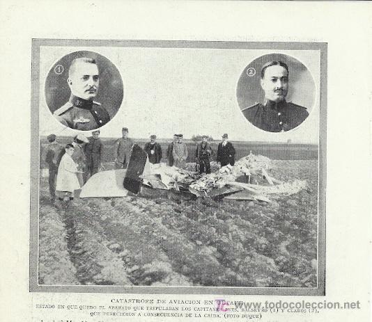 * GETAFE * AVIACIÓN * ACCIDENTE AÉREO: CAPITANES BALSEYRO Y CLAROS- 1919 (Coleccionismo - Laminas, Programas y Otros Documentos)