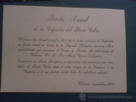 Cofradia Del Santo Caliz De Valencia 1974 Tarjeta De Invitacion A La Fiesta Anual