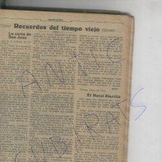 Coleccionismo: RECORTE DE PRENSA. AÑO 1912. NUEVO HOTEL BIARRITZ. BILBAO. ANTIGUO HOTEL CONTINENTAL. . Lote 18573965