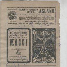 Coleccionismo: RECORTE DE PRENSA. AÑO 1909. CALDO MAGGI. CEMENTO PORTLAND ASLAND. FOTO UREÑA. MODERNISTA. . Lote 18594357