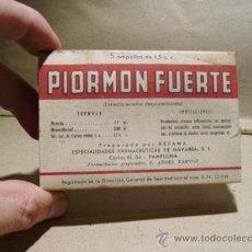 Coleccionismo: CAJA MEDICAMENTO PIORMON FUERTE. MEDICAMENTO. FARMACIA . Lote 18737231