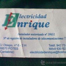 Coleccionismo: TARJETA DE VISITA ELECTRICIDAD ENRIQUE - CANTABRIA-. Lote 19214027