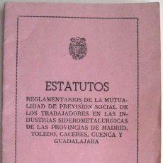 Coleccionismo: ESTATUTOS MUTUALIDAD PREVISION SOCIAL. 1947. ENVIO GRATIS¡¡¡ ENVIO GRATIS¡¡¡. Lote 19545323