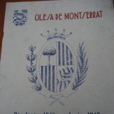 Coleccionismo: OLESA DE MONTSERRAT. BARCELONA FIESTA MAYOR 1949. 26 X 20 CMS.. Lote 23642413