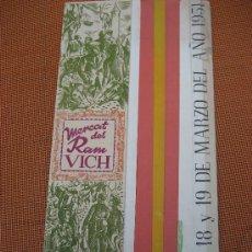 Coleccionismo: VICH. BARCELONA. MERCAT DEL RAM. 1951. PROGRAMA DE FIESTAS. Lote 23642415