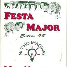 Coleccionismo: FESTA MAJOR - MASLLORENC - ANY 1998. Lote 25496588