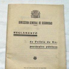 Coleccionismo: ANTIGUO REGLAMENTO DE POLICIA DE ESPECTACULOS PUBLICOS 2ª REPUBLICA. 1935. Lote 25673007