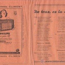 Coleccionismo: DE TOAS, ES LA MEJOR. COPLAS EN DIALECTO MURCIANO PROPAGANDA DE PHILIPS, MURCIA. Lote 19966713