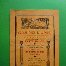 Coleccionismo: CASINO L'UNIO DE RAJADELL FESTA MAJOR 1.933. Lote 26919776