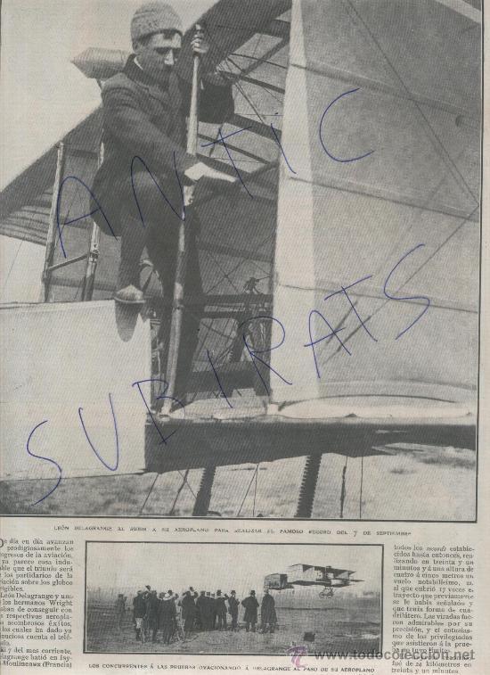 RECORTE DE PRENSA.AÑO 1908.AVIACION.ANTIGUA.RECORD.LEON DELAGRANGE.ISSY-LES-MOULINEAUX.FRANCIA.FOTOS (Coleccionismo - Laminas, Programas y Otros Documentos)