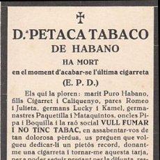 Coleccionismo: ESQUELA DE DON PETACA TABACO DE HABANO. ES DE LOS AÑOS 70. Lote 20674633