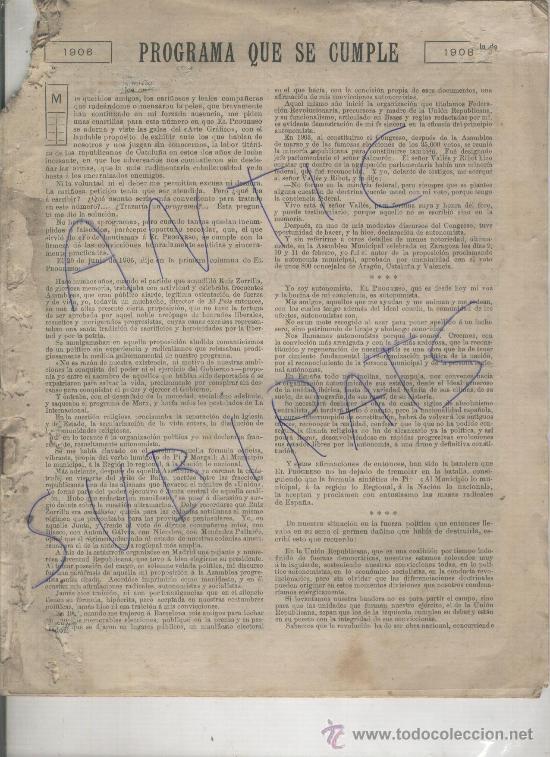 RECORTE DE PRENSA. AÑO 1908. ESCRITO DE LERROUX. PARIS. POLITICA. (Coleccionismo - Laminas, Programas y Otros Documentos)