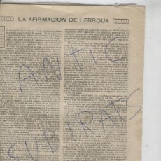 Coleccionismo: RECORTE DE PRENSA. AÑO 1908. AFIRMACION DE LERROUX. POLITICA. PARTIDO RADICAL.EMILIANO IGLESIAS. Lote 20961667