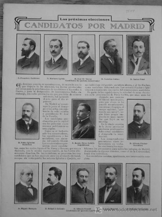 Coleccionismo: RECORTE DE PRENSA 1907 - ELECCIONES CANDIDATOS MADRID - PABLO IGLESIAS - BENITO PEREZ GALDOS - GARAY - Foto 1 - 21394647