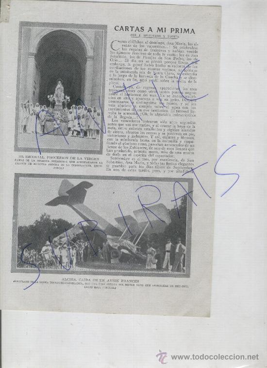 RECORTE DE PRENSA. AÑO 1919. ALCIA. ALZIRA. AVIACION.FOTO ANTIGUA.ACCIDENTE DE UN AVION FRANCES. (Coleccionismo - Laminas, Programas y Otros Documentos)