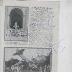 Coleccionismo: RECORTE DE PRENSA. AÑO 1919. ALCIA. ALZIRA. AVIACION.FOTO ANTIGUA.ACCIDENTE DE UN AVION FRANCES.. Lote 21518858