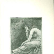 Coleccionismo: EX LIBRIS (AGUAFUERTE) DE ALEXANDRE DE RIQUER PARA LLUIS PLANDIURA. AÑO 1903. MODERNISMO. Lote 42950273