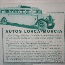 Coleccionismo: ANUNCIO EN PRENSA. FEB-1934. AUTOS LORCA-MURCIA. LORCA. MURCIA. 15 X 12 CM.. Lote 22544157