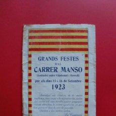 Coleccionismo: GRANDS FESTES D'EL CARRER MANSO 1923. Lote 27088122