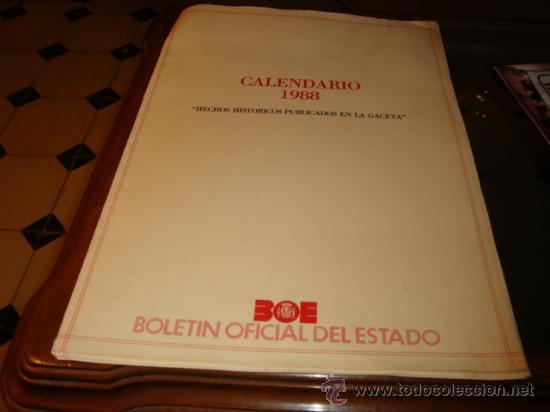 Boe Calendario.Calendario 1988 Hechos Historicos Publicados Sold Through Direct
