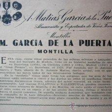 Coleccionismo - ANUNCIO EN PRENSA. 1933. VINOS M. GARCIA DE LA PUERTA. MONTILLA. CORDOBA. 12 X 15 CM - 23718769