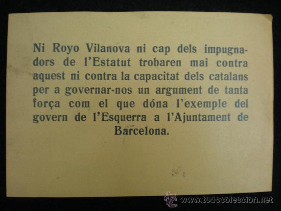 OCTAVILLA POLÍTICA. REPÚBLICA ESPAÑOLA. ESTATUT DE CATALUNYA. ESQUERRA REPUBLICANA. 1932. (Coleccionismo - Laminas, Programas y Otros Documentos)
