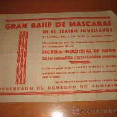 Coleccionismo: GRAN BAILE DE MASCARAS EN EL TEATRO JOVELLANOS ORGANIZADO POR ALUMNOS ESCUELA INDUSTRIAL DE GIJON . Lote 27205534