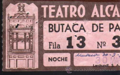 ANTIGUA ENTRADA - TEATRO ALCAZAR - MADRID - AÑO 1959 (Coleccionismo - Laminas, Programas y Otros Documentos)