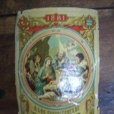 Coleccionismo: INENCONTRABLE FELICITACION DE NAVIDAD-PASCUAS DE LOS REPARTIDORES DE EL DILUVIO-1881. Lote 24437444
