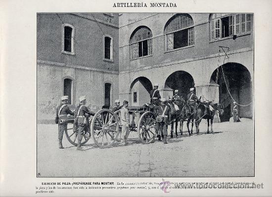 MILITARES 1896 ARTILLERIA MONTADA LOTE 19 LAMINAS A 5 EUROS UNIDAD (Coleccionismo - Laminas, Programas y Otros Documentos)