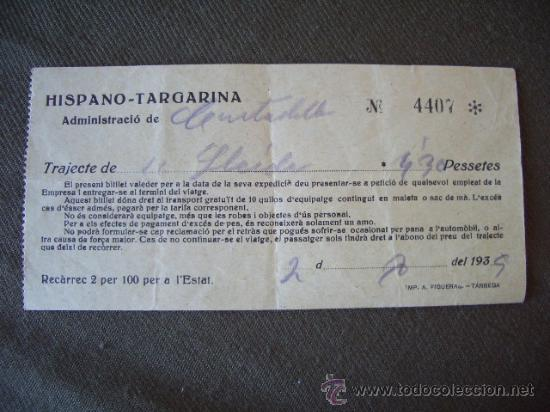 BILLETE AUTO DE LINEA HISPANO TARGARINA. TRAJECTE DE CIUTADILLA A LLEIDA. AÑOS 30 (Coleccionismo - Laminas, Programas y Otros Documentos)