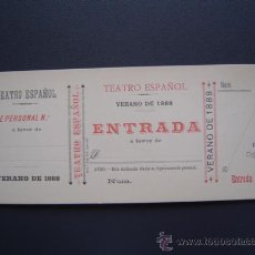 Coleccionismo: TEATRO ESPAÑOL - ENTRADA / PASE PERSONAL - VERANO 1888 - SIN USO. Lote 26577922