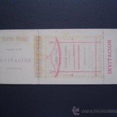 Coleccionismo: TEATRO TIVOLI - ABONO / ENTRADA / INVITACION - TEMPORADA 1884 - SIN USO. Lote 26577925