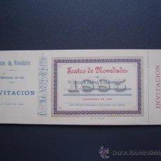 Coleccionismo: TEATRO NOVEDADES - ABONO / ENTRADA / INVITACION - TEMPORADA 1885 - SIN USO. Lote 26599321