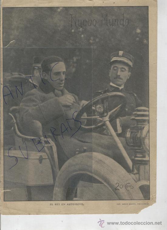 RECORTE DE PRENSA. AÑO 1908. EL REY EN AUTOMOVIL. COCHES. (Coleccionismo - Laminas, Programas y Otros Documentos)