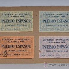 Coleccionismo: LOTE DE CUATRO ENTRADAS PUEBLO ESPAÑOL, EXPOSICION INTERNACIONAL DE BARCELONA 1929. Lote 25386770