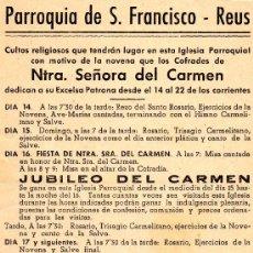 Coleccionismo: PARROQUIA DE SAN FRANCISCO REUS1951. Lote 25421970