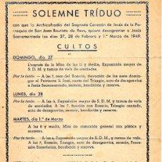 Coleccionismo: SOLEMNE TRÍDUO ARCHICOFRADIA SAGRADO CORAZÓN DE JESÚS 1949. Lote 25422279
