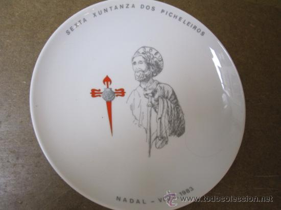 PICHELEIROS VIGO - PLATO 6ª XUNTANZA NADAL 1983 - SANTA CLARA VIGO - 21 CM PERFECTO + INFO (Coleccionismo - Varios)
