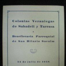 Sammelleidenschaft Papier - Díptico y hoja. Colonias Veraniegas de Sabadell y Tarrasa. 1958. - 26362344