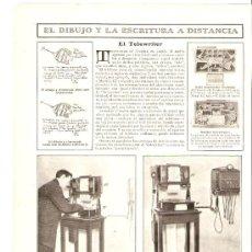 Coleccionismo: RECORTE PRENSA.AÑO 1908.TELEWRITER.DIBUJO Y ESCRITURA A DISTANCIA.PANTELEGRAFO.. Lote 27026157