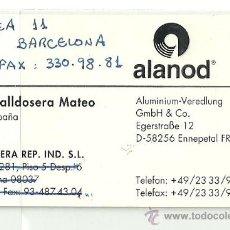 Coleccionismo: TARJETA COMERCIAL ALANOD, BARCELONA. Lote 27544557