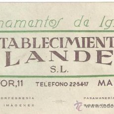 Coleccionismo: TARJETA COMERCIAL ORNAMENTOS DE IGLESIA ESTABLECIMIENTOS FLANDEZ.CALLE MAYOR 11,MADRID.. Lote 28378329