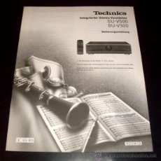 Coleccionismo: MANUAL INTRUCCIONES AMPLIFICADOR TECHNICS SU - V500 Y SU - V300 - EN ALEMAN. Lote 28443076