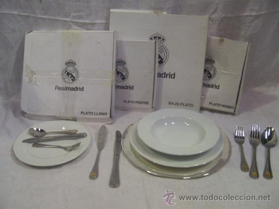 Real Madrid. Conjunto de Vajilla con cuberteria. segunda mano