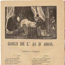 Coleccionismo - PLIEGO DE CORDEL – GOIGS DE L'AS D'OROS - 1880 - 28644127