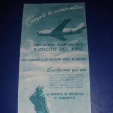 Coleccionismo: IMPRESO ORIGINAL, DEL SERVICIO MILITAR EN EL AIRE VALLADOLID .AÑOS 40-50.. Lote 28654275